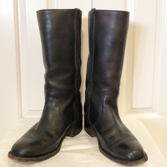 Calvary Black Leather Boots Mens 8